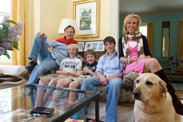 The Roells are happy to finally call Rockport their permanent home. Pictured from left, Syb Roell his sons Sam, 14, Gideon, 11, Shaffy, 16 and wife Saskia with their dog Zoe.  Photo by Mary Muckenhoupt