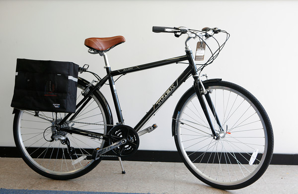 Saddle up. Save on gas and look swanky doing it with this Trek Allant around town bike with Shimano gears, $539.99.<br /> Add the Hunter grocery bag panniers for $44.95, and make your weekly chore a workout.