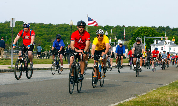 """Amy Sweeney/Staff photo.  Over 600 bicyclists took in the beauty of Cape Ann for the 13th annual Tour de Cure and raised over $300,000.  """"Beautiful seacoast with spectacular scenery """" said Phil Slagle Chairman of the ride."""