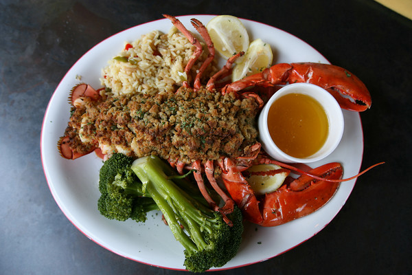 The baked stuffed lobster. Photo by Kate Glass