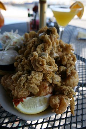 The fisherman's platter includes scallops, clams, shrimp and haddock. Photo by Kate Glass