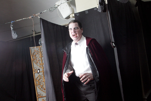 Larry Cook makes a fierce (but dashing) Count Dracula. <br /> One of the highlights of the Annisquam Village Sea Fair is the WaxWorks show. Photo by Mary Muckenhoupt.