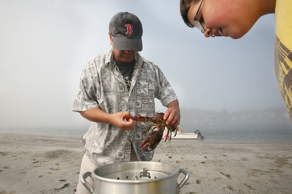 Jake D'Ambrosio, 10, watches as his father Frank gets ready to put a lobster in the pot for a clam bake.<br /> Photo by Amy Sweeney.