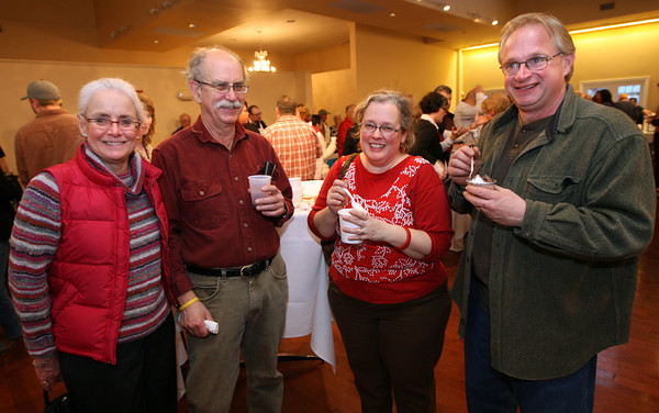 Barbara Emerson, Joe Kunkel, Sarah Collins, and Bill Stevens sample the food and beverages during the 2nd Annual Taste of Cape Ann at Cruiseport on March 23rd. The event, which is sponsored by the Gloucester Daily Times and Cape Ann Magazine, is a fundraiser for the Open Door Food Pantry and Cape Ann Animal Aid. Photo by Kate Glass