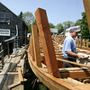 Harold Burnham works on the Schooner Ardelle.