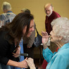 Karen Smith O'Neil (Barbara's niece) share a laugh at the Lanesville Community Center. Desi Smith Photo