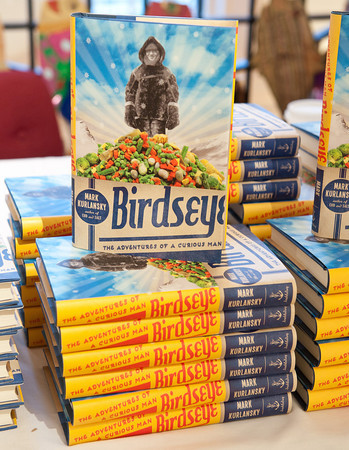 Gloucester:  Author Mark Kurlansky's Bitdseye were for sale at the Cape Ann Museum Tuesday night, where the author came to talk about his books and sign them.  Desi Smith/Gloucester Daily Times. May 15,2012