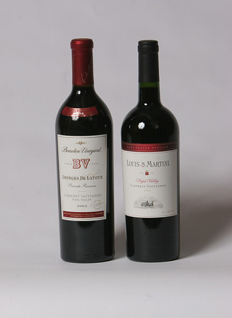Left, Louis M. Martini, a cabernet Sauvignon from Napa Valley that sells for $23.99. Right, Beauliey Vineyard Georges De Latour, a 2004 Cabernet Sauvignon from Napa Valley which sells for $129.99. Photo by Mary Muckenhoupt