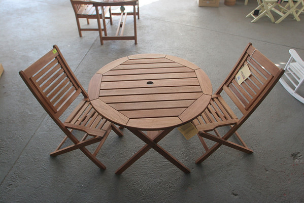 """""""Amazonia"""" Eucalyptus wood 3 piece Bistro Set. Chairs- $99 each. Table $159.98. Photo by Mary Muckenhoupt/Cape Ann Magazine"""