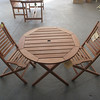 """Amazonia"" Eucalyptus wood 3 piece Bistro Set. Chairs- $99 each. Table $159.98. Photo by Mary Muckenhoupt/Cape Ann Magazine"