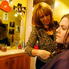 Rockport Police Officer Colleen Daniels gets her hair done by Grace Cusumano at Salon One at 267 Main Street in Gloucester.  Photo by Kate Glass/Cape Ann Magazine