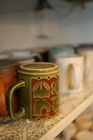 Rockport:  Regular customers at The Coffee Shop bring in mugs from home and leave them at the shop.  Photo by Kate Glass/Cape Ann Magazine