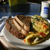 Manchester: A tomato spinach and feta omelet with toast at the Beach Street Cafe. Photo by Kate Glass/Cape Ann Magazine