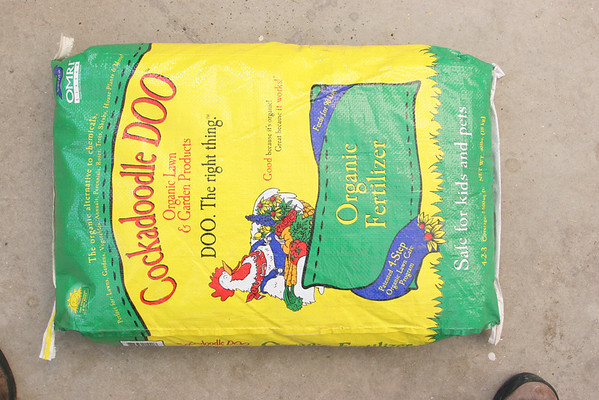 Cockadoodle Doo 40 lb. bag of organic fertilizer. $26.98 Photo by Mary Muckenhoupt