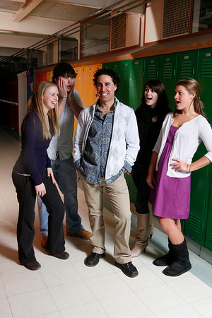 Manchester: Spanish teacher Eric Magers suprises his students with his new make-over.  Grace Gillette, left, Spenser Peterson, Abby Burke, Shane Gorden. Photo by Mary Muckenhoupt/Cape Ann Magazine