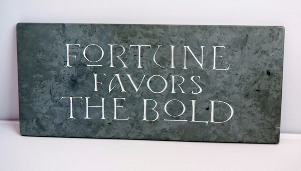 Essex: Sea Meadow Gifts, 7 Main Street, Essex: Hand carved lettering and sculpturing in stone with gold, silver, copper or aluminum palladium leaf.  $300.<br /> Photo by Amy Sweeney/Cape Ann Magazine.