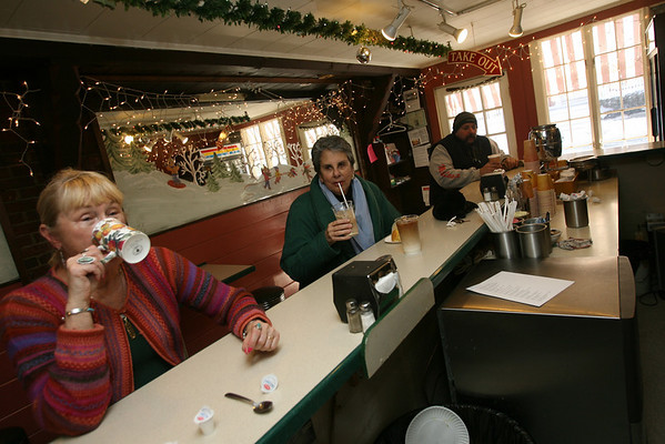Rockport residents Phyllis  Starr and Suellen Wedmore are regulars at The Coffee Shop.  Photo by Kate Glass/Cape Ann Magazine