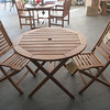 """Amazonia"" Eucalyptus wood 3 piece Bistro Set. Chairs- $99 each. Table $159.98. Photo by Mary Muckenhoupt"