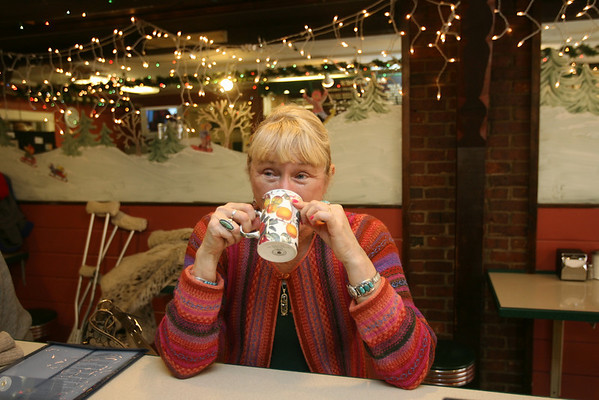 Rockport:  Suellen Wedmore uses her own mug when she is at The Coffee Shop.  Photo by Kate Glass/Cape Ann Magazine