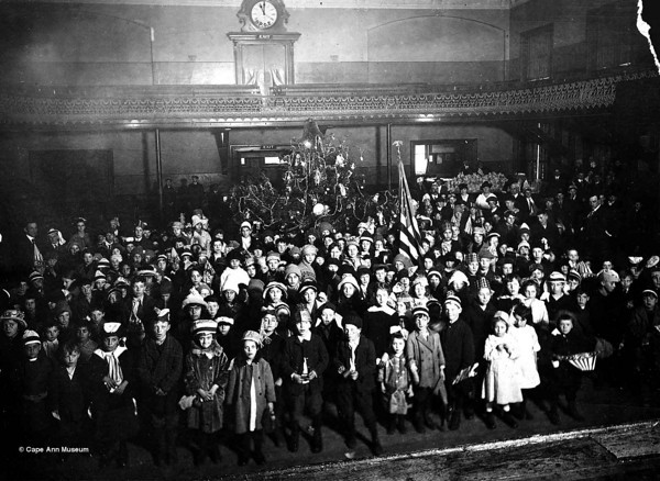 Children's Christmas party, Gloucester City Hall.  Dec. 25, 1916.  Photo by Herman Spooner/Courtesy of Cape Ann Museum.