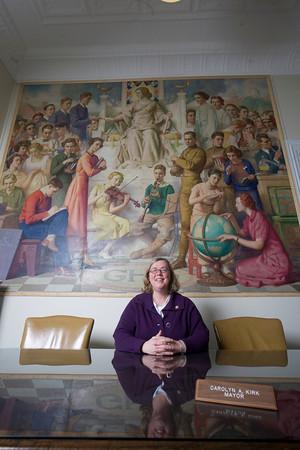Roger Darrigrand/Cape Ann Magazine Goucester City Hall.<br /> Mayor Carolyn Kirk in her office.