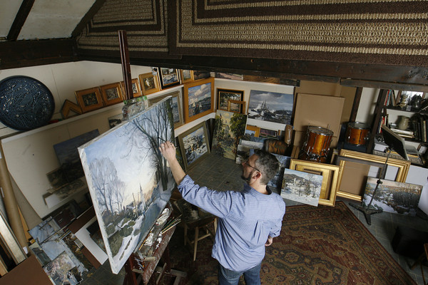 Roger Darrigrand/Cape Ann Magazine Artist Ken Knowles at his Rockport studio.