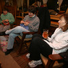 Nancy Sousa, Karen O'Hara, and Mary Aloisio knitting at the Cape Ann Brewery. Photo by Kate Glass