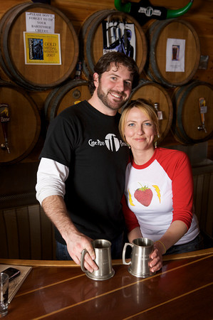 Kate Lynch and T.J. Peckham at the Cape Ann Brewing Company.