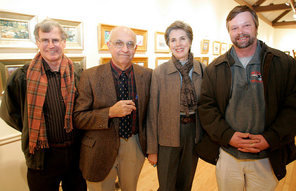 """Masterpieces in Miniature""  reception at the Rockport Art Association, November 20, 2009<br /> Larry Swift, Charles Movalli, Dale Ratcliff Movalli and Caleb Stone. Photo by Mary Muckenhoupt"