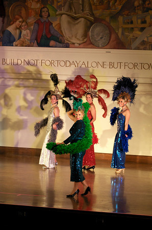 "Bananarettes Dale Theberge, front,  Sarah Slifer, back row from left, Patti Salvucci, Sarah West Ritchie perform ""Presents from Mrs. Rogers"" during the Banana Glam O Rama Fashion Show.  Bananas Fashion show to help restore Gloucester City Hall.  Photo by Desi Smith."