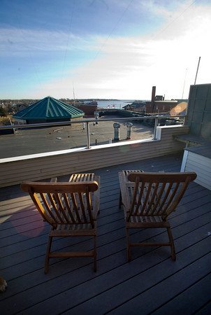 ROOM WITH A VIEW: This is what Steel sees from her condo's deck, a wonderful view of Gloucester's inner harbor.