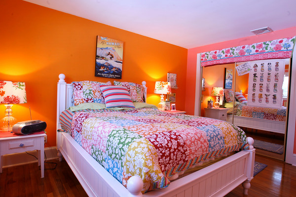 The children's room is accented with colorfully painted walls.  Photo by Roger Darrigrand