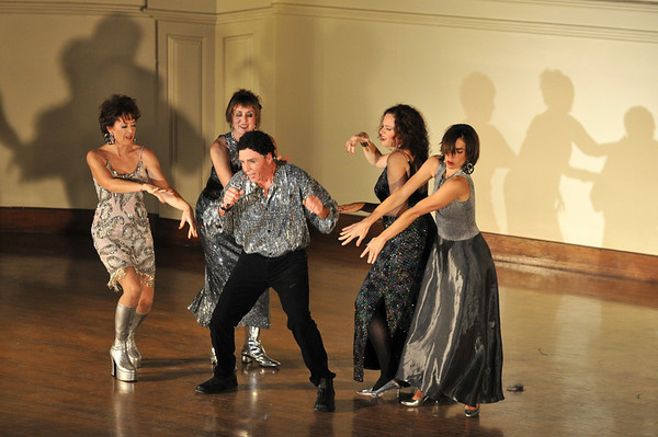 "Joe Poirier sings ""She's a Lady"" as Tom Jones with Margi Green, from left, Katherine Thompson, Joe Poirier, Jane Poirier, Sarah Slifer.   Photo by Desi Smith"