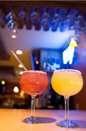 The black gold margarita, left, and the horni margarita are two popular drinks at Jalapenos Restaurant located at 86 Main Street, Gloucester. Photo by Mary Muckenhoupt.