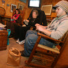From right: Dylan L'Abbe-Lindquist, Toni Ramos, and Pat Hand knitting at the Cape Ann Brewery. Photo by Kate Glass