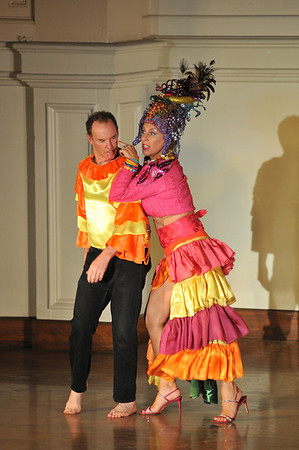 """David Adams, left, and Dale Theberge,  perform Carmen Miranda's """" I like you very Much.""""  <br /> Bananas Fashion show to help restore Gloucester City Hall. Photo by Desi Smith"""