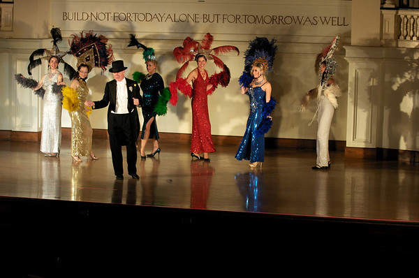 """Richard Leonard and the Bananaretets perform: """"Presents from Mrs. Rogers.""""  Sarah Slifer, left, Denise Donnolly, Dale Theberge, Patti Salvucci, Sarah West Richtie, Sue Fehrmann. Bananas Fashion show to help restore Gloucester City Hall.  Photo by Desi Smith"""