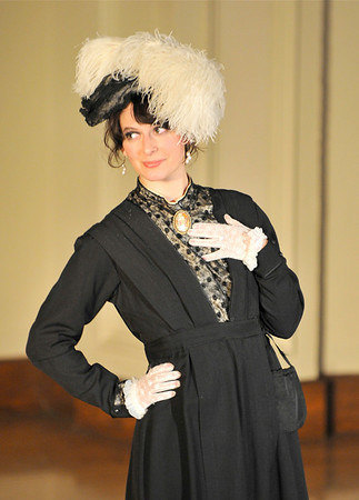 Elizabeth Bollenberg hams it up for the historical fashion number.<br />   Photo by Desi Smith