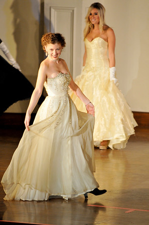 Elise Hansen, front, and Sarah West Ritchie show some Romantic Fashions. <br /> Bananas Fashion show to help restore Gloucester City Hall. Photo by Desi Smith.