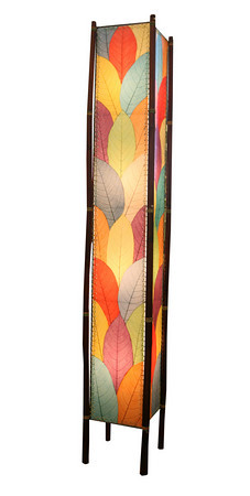Coco leaf and bamboo lamp. Eco-friendly and Fair Trade. $355. Changing Tides Distinctive Gifts located at Ace Hometown Hardware<br /> 231 Gloucester Crossing, Gloucester.