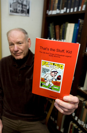 """Local author, Ed Brown, recently published a book, """"That's the stuff Kid"""" The life and times of baseball legend Stuffy McInnis."""" The Gloucester baseball legend was member of the Red Sox in the 1918 World Series.  Photo by Mary Muckenhoupt."""