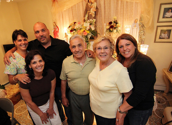 Allegra Boverman/Cape Ann Magazine. The Ciaramitaro family of Apple Street in Gloucester. From left are: Mary Grace Celata, Francesca Giacalone, Joseph Anthony, Nino and Grace, and Rosemarie.