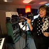 Jim Vaiknoras/Cape Ann Magazine. Meg Griffin records an interview session of her radio show for Sirius XM radio's The Loft, channel 30, at Tony Goddess's Bang A Song studios in downtown Gloucester.