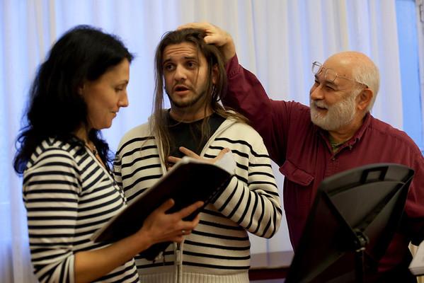 "Mirjana Ristic Damjanovic/Courtesy photo. Seth Yorra of Rockport, right, works with soprano Rada Nossikova, left, and bass Iliya Iliev, in Belgrade as they rehearse the opera ""Pimpinone."""