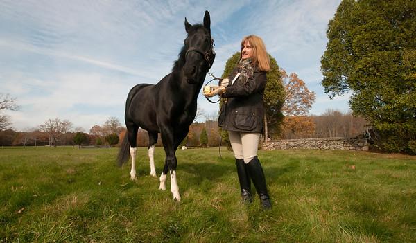 Jim Vaiknoras/Cape Ann Magazine: Meg Griffin with her horse Soxy near Myopia in Hamilton.