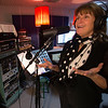 Jim Vaiknoras/Cape Ann Magazine. Meg Griffin at  Bang A Song studios in Gloucester during an interview session to be heard on  Meg's Sirius XM radio show on The Loft channel 30.