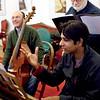 "Mirjana Ristic Damjanovic/Courtesy photo.  Seth Yorra, upper right, of Rockport, rehearses the opera ""Pimpinone"" in Belgrade. He is working with Jeremy Joseph, at the harpsichord, and, at left, on viola da gamba, Srdjan Stanic."