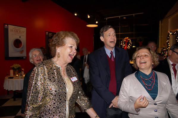 """Robert Whitmarsh/Courtesy photo Gloucester Stage Board of Directors President Bea Waring, left, enjoys the holiday singalong with party guests at the Gloucester Stage Company's gala. The event, which included entertainment and dinner, was """"A Festive Holiday Celebration to Benefit Gloucester Stage Company on Sat. Dec. 1, 2012 at the theater on 267 East Main Street in East Gloucester."""