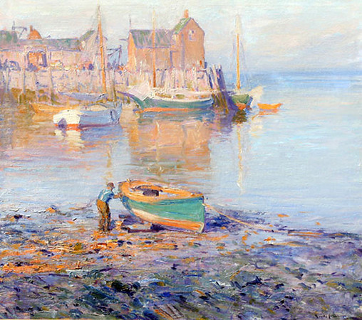 """Courtesy photo. """"Rockport Harbor, Motif No. 1"""" by Emile A. Gruppe (1896-1978), oil on canvas, 36-by-40 inches, overall 40-by-44inches,  signed lower right, dated 1928."""