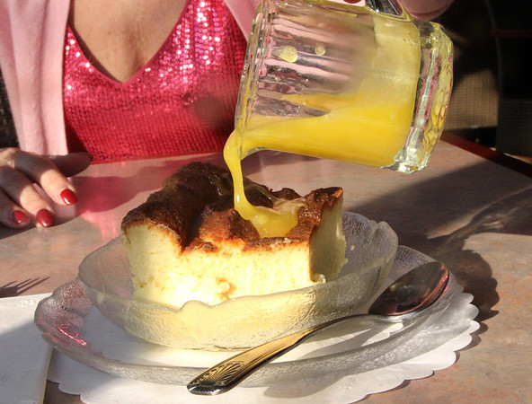 Allegra Boverman/Cape Ann Magazine. White chocolate bread pudding with amaretto sauce at The Village Restaurant.
